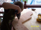 Mike attaching gussets to keel and stem.